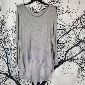 High Low Color Block Tunic Grey Long Sleeve Sheer